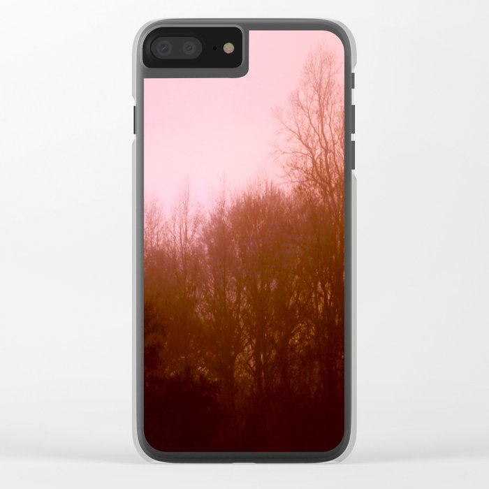 Pink Tree 3 Clear iPhone Case