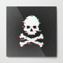 Crossbones Game Over Glitch effect Metal Print