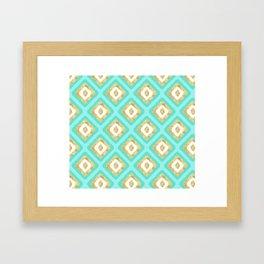 Gold & Turquoise Ikat Pattern Framed Art Print