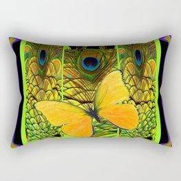 GREY-PURPLE ART NOUVEAU PEACOCK BUTTERFLY Rectangular Pillow