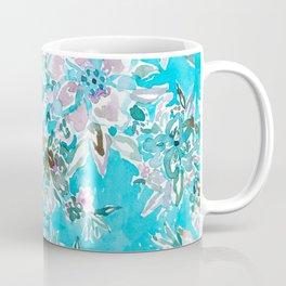 BEACH BABE Aqua Watercolor Floral Coffee Mug