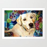 labrador Art Prints featuring   Labrador by oxana zaika