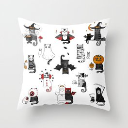Halloween Cats In Terrible Imagery Throw Pillow