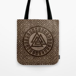 Valknut Symbol and Runes on Celtic Pattern on Wood Tote Bag