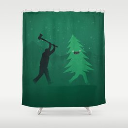 Funny Cartoon Christmas tree is chased by Lumberjack / Run Forrest, Run! Shower Curtain