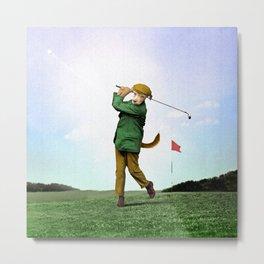 Sir Terrance Terrier Golfing Metal Print