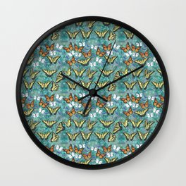 monarch butterfly, tiger swallowtail, cabbage whites, & eastern tailed blue butterflies mix Wall Clock