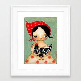 Babusha Girl with Speckled Chicken Framed Art Print