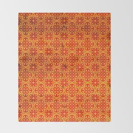 N67 - Yellow & Red Vintage Antique Geometric Traditional Moroccan Style. Throw Blanket