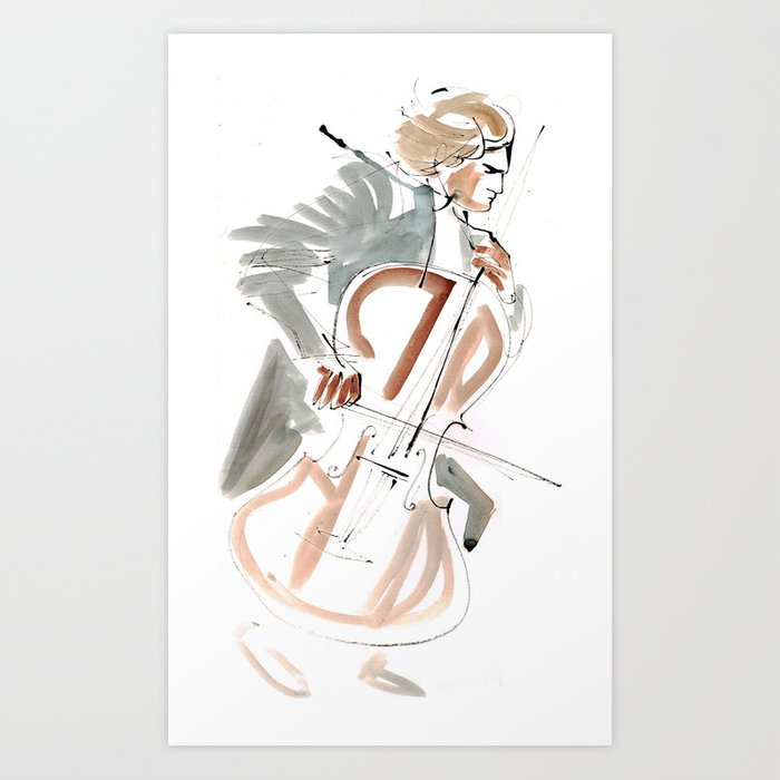 Cello Player Musician Expressive Drawing Art Print