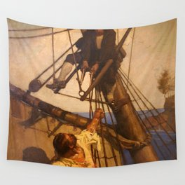 One more step Mr. Hands - N.C. Wyeth painting Wall Tapestry