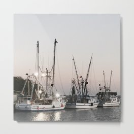 Fishing Boats on the Water at Sunset Metal Print