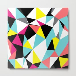 Colorful bright geometrical triangles print Metal Print