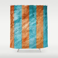 striped Shower Curtains featuring Striped Stone by Robin Curtiss