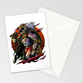 Samurai Viking | Warrior Ronin Berserk Armor Axe Stationery Cards