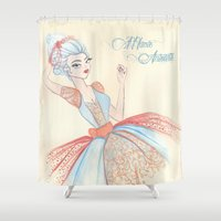 marie antoinette Shower Curtains featuring Marie Antoinette by carotoki art and love