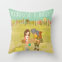 moonrise kingdom Throw Pillows featuring 'Moonrise Kingdom' by Nicola Colton illustration
