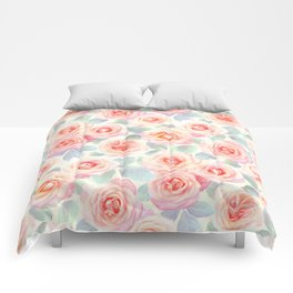 Faded Vintage Painted Roses Comforters