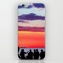 Silhouettes in the sunset iPhone Skin