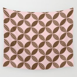 Mid Century Modern Geometric Flower Pattern Brown and Pink Wall Tapestry