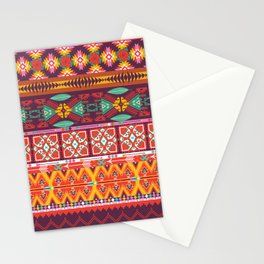 Seamless colorful aztec carpet with birds,flowers and arrow Stationery Cards