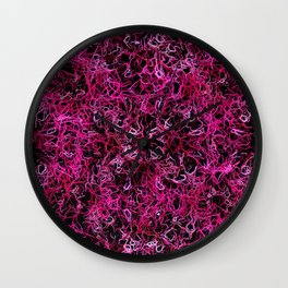 Hot Pink and Black Electric Lines Wall Clock