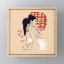 Girl drawing on red Framed Mini Art Print