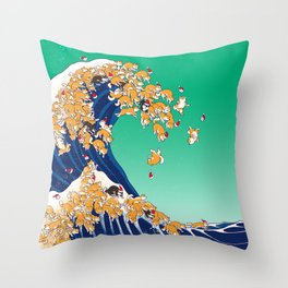 Christmas Shiba Inu The Great Wave Throw Pillow