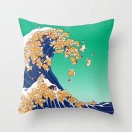 Christmas Shiba Inu The Great Wave Throw Pillow