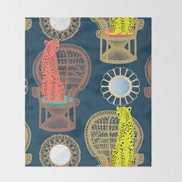 Rattan Cheetah Chairs + Mirrors Throw Blanket