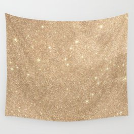 Gold Glitter Chic Glamorous Sparkles Wall Tapestry