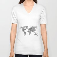 vintage map V-neck T-shirts featuring World Map Black Vintage by City Art Posters