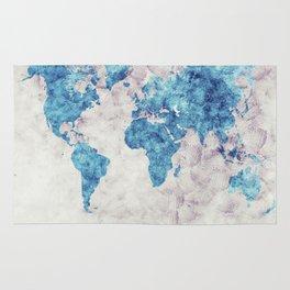 world map 52 blue Rug