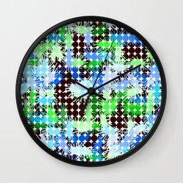 Blue, Green and Black Paint Splatter  Wall Clock
