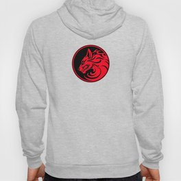 Red and Black Growling Wolf Disc Hoody