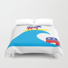 Democratic Donkey Riding Midterm Eection Blue Wave Duvet Cover