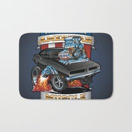 American Muscle Patriotic Classic Muscle Car Cartoon Illustration Bath Mat