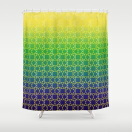 Geometry Star Pattern Yellow Green Blue Shower Curtain