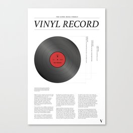 The Iconic Vinyl Record (White, Red) Canvas Print