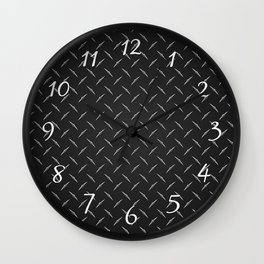 Dark Industrial Diamond Plate Metal Pattern Wall Clock