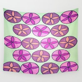 Pink and Purple Floral Pattern Wall Tapestry