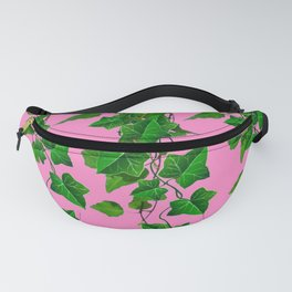 GREEN IVY HANGING LEAVES & VINES ON PINK Fanny Pack