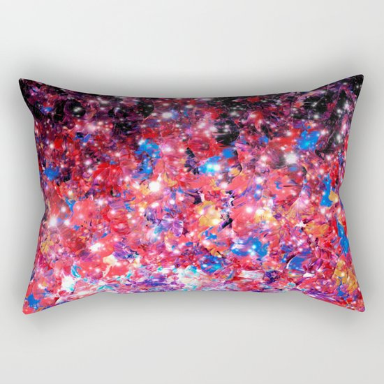 WRAPPED IN STARLIGHT Bold Colorful Abstract Acrylic Painting Galaxy Stars Pink Red Purple Ombre Sky Rectangular Pillow