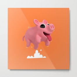 Rosa the Pig Jumping Metal Print
