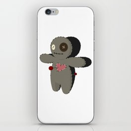 Voodoo doll. Cartoon horror elements. Spooky fear trick or treat iPhone Skin
