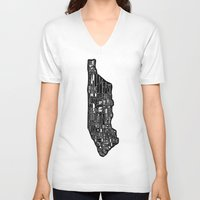 manhattan V-neck T-shirts featuring Manhattan by Robert Farkas