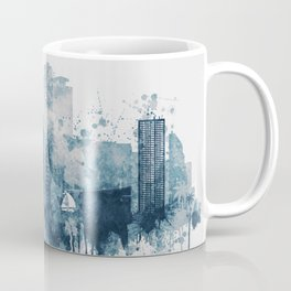 Blue Miami watercolor skyline design Coffee Mug