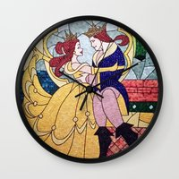 beauty and the beast Wall Clocks featuring Beauty and the Beast by DisPrints