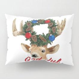 God Jul Deer with Christmas Wreath Pillow Sham