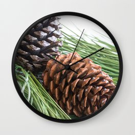 Pinecones and needles Wall Clock